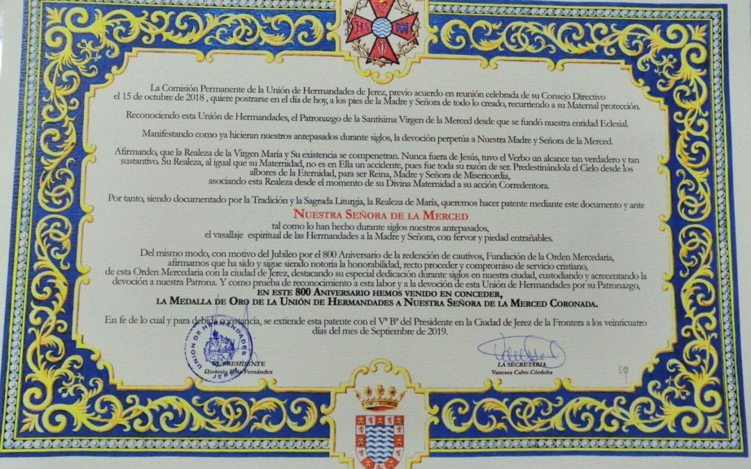 GALERÍA DE FOTOS ENTREGA MEDALLA DE ORO DE LA UNIÓN DE HERMANDADES A LA PATRONA